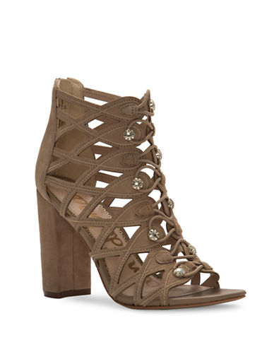 Sam Edelman Yeager Caged Military Suede Sandals-BEIGE-8.5