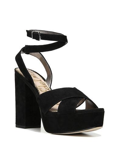 Sam Edelman Mara Suede Vintage Platform Sandals-BLACK-7.5