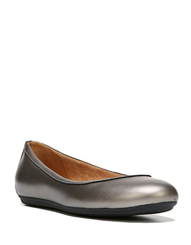 Naturalizer Brittany Leather Ballet Flats-PEWTER-8W