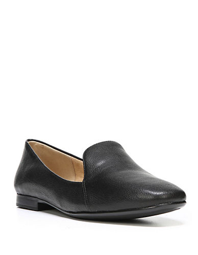 Naturalizer Emiline Leather Loafers-BLACK-6W