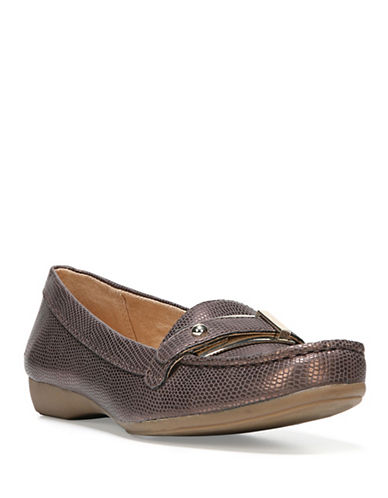 Naturalizer Gisella Buckled Textured Loafers-DARK BROWN-10