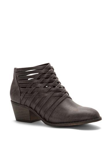 Fergalicious Bandana Block Heel Ankle Boots-GREY-5.5
