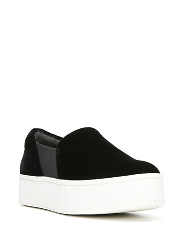Vince Warren Velvet Slide Platform Sneakers-BLACK-5.5
