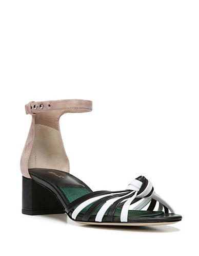Diane Von Furstenberg Fonseca Leather Sandals-BLACK/IVORY-6.5