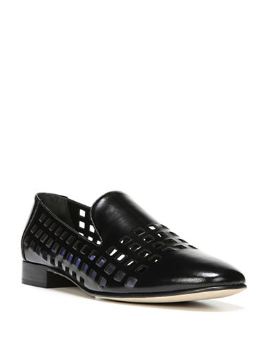 Diane Von Furstenberg Grid Cut-Out Leather Loafers-BLACK-8
