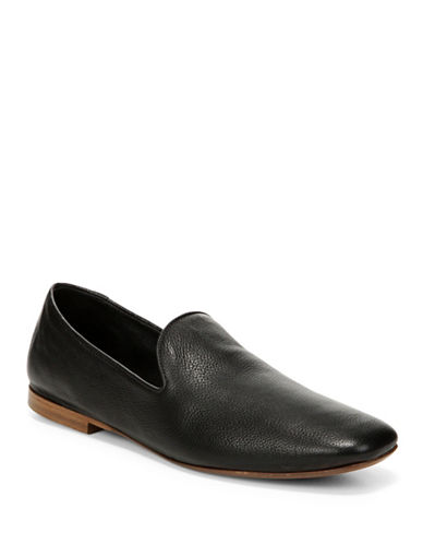 Vince Bray Textured Leather Loafers-BLACK-9