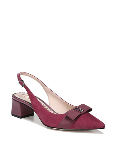 Sam Edelman Alwyn Bow Detail Suede Pumps-RED-8