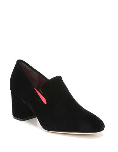 Diane Von Furstenberg Velvet Block Heel loafers-BLACK-7.5