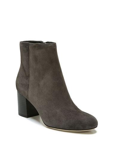 Diane Von Furstenberg Stacked Suede Ankle Boots-GREY-10