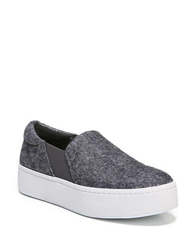Vince Warren Felt Platform Slip-On Sneakers-PEWTER-7.5