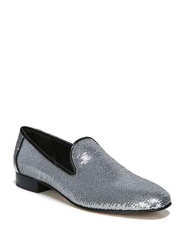 Diane Von Furstenberg Sequin Loafers-SILVER-9.5