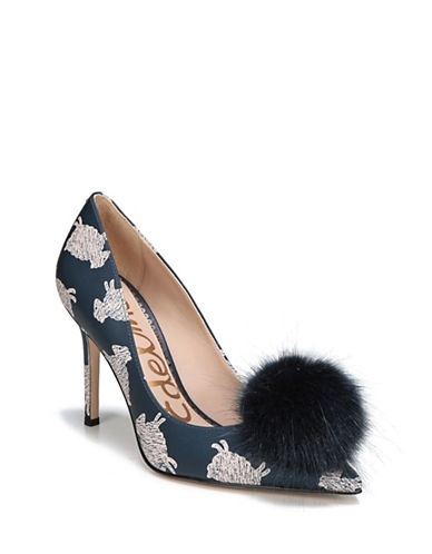 Sam Edelman Haroldson Leather Faux Fur Pom Pumps-NAVY MULTI-7
