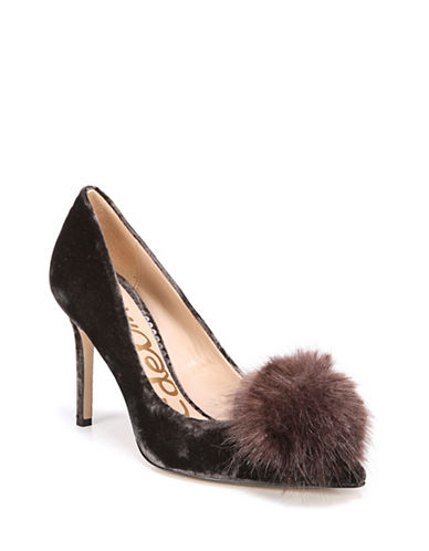 Sam Edelman Haroldson Velvet Faux Fur Pom Pumps-GREY-6