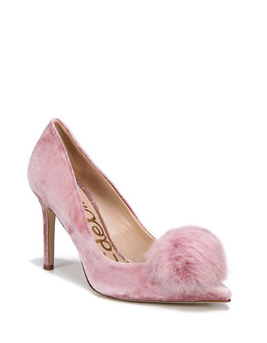 Sam Edelman Haroldson Velvet Faux Fur Pom Pumps-FADED ROSE-6