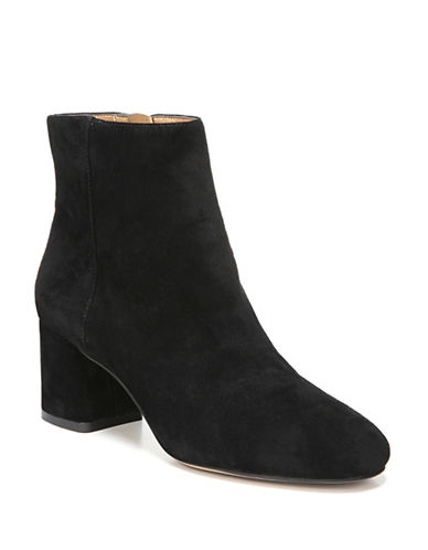Franco Sarto Round Toe Leather Booties-BLACK-8.5