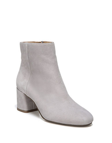 Franco Sarto Round Toe Leather Booties-GREY SUEDE-7.5