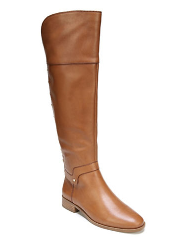 Franco Sarto Roxanna Leather Knee-High Boots-BROWN-6.5