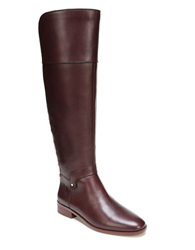 Franco Sarto Roxanna Leather Knee-High Boots-BURGUNDY-6.5