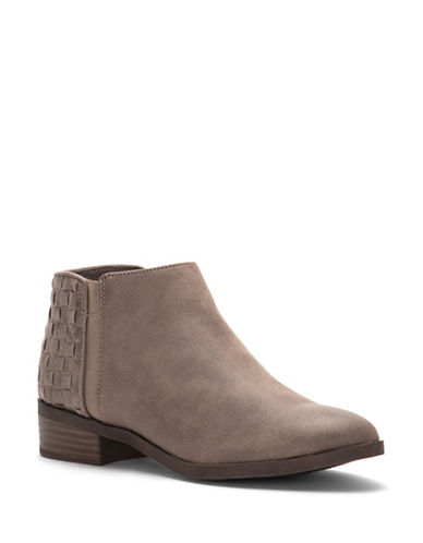 Fergalicious Noble Stacked Heel Booties-GREY-9.5