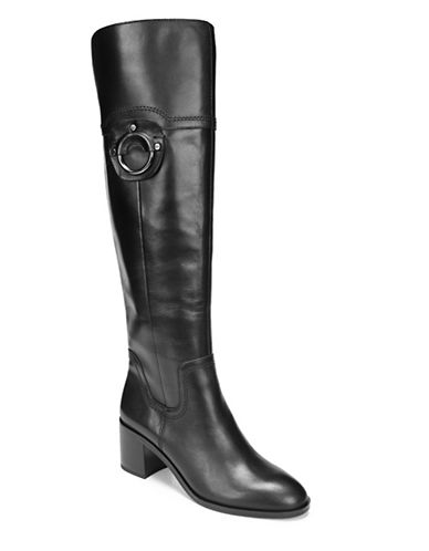 Franco Sarto Leather Riding Boots-BLACK-7.5