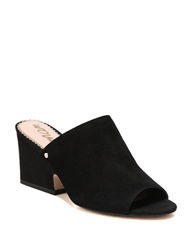 Sam Edelman Rheta Block Heel Suede Slides-BLACK-7.5