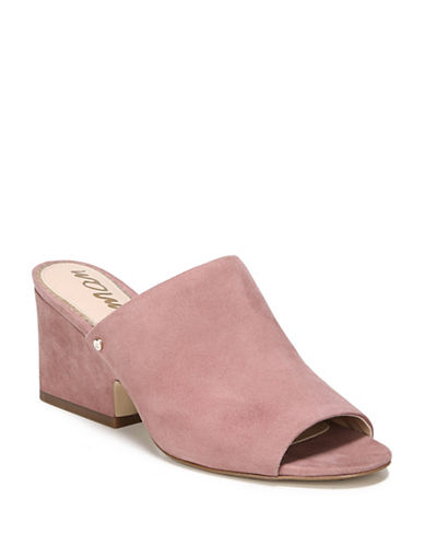 Sam Edelman Rheta Block Heel Suede Slides-DUSTY ROSE-7