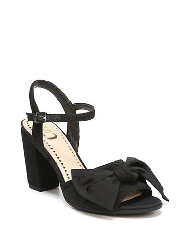 Circus By Sam Edelman Eva Textured Bow Sandals-BLACK-7.5