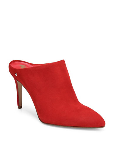 Sam Edelman Oran Suede Mules-CANDY RED-9.5