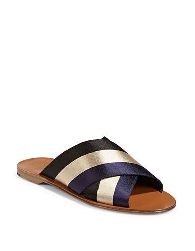 Diane Von Furstenberg Bailie Ribbon Flat Sandals-BLACK-6.5