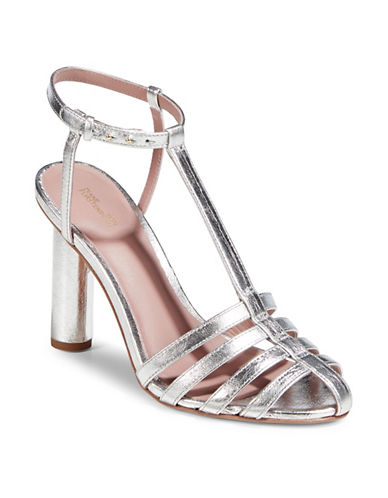 Diane Von Furstenberg Eva Silver T-Strap Leather Dress Sandals-SILVER-10