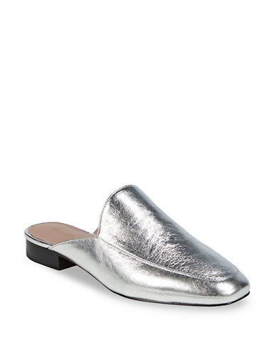 Diane Von Furstenberg Lexington Leather Mules-SILVER-10