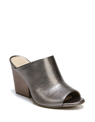 Naturalizer Sloan Leather Mules-GUNMETAL-8.5