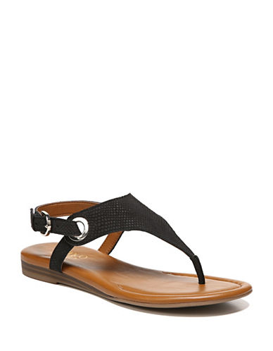 Franco Sarto Flat Leather Sandals-BLACK-8.5