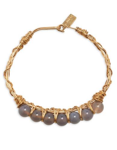 Canvas Wire-Wrapped Bracelet-GREY-One Size