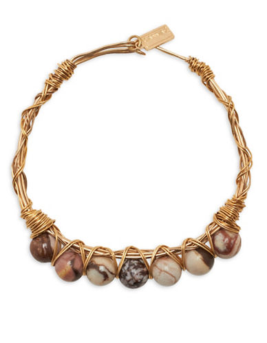 Canvas Tiger Jasper Wire-Wrapped Bracelet-BROWN-One Size