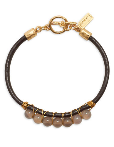 Canvas Leather Toggle Bracelet-BROWN-One Size