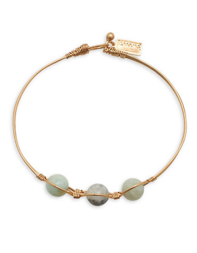 Canvas Amazonite and Wired Rose Goldtone Bangle Bracelet-GREEN-One Size