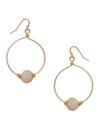 Canvas Agate and Goldtone Wired Hoop Earrings-NATURAL-One Size