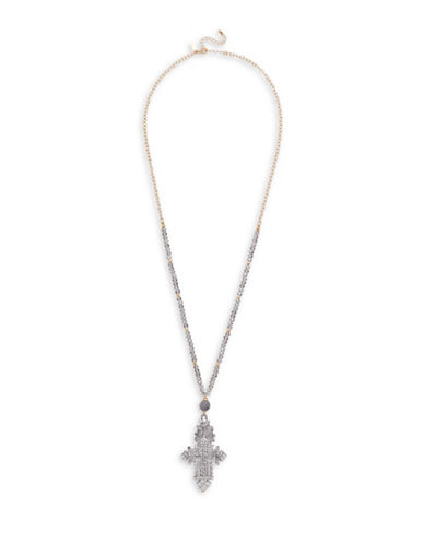 Canvas Beaded Glass Ethiopian Cross Necklace-GREY-One Size