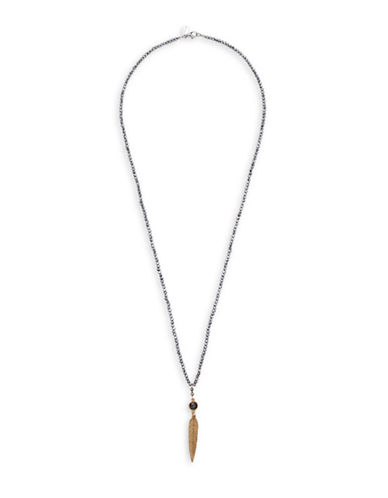 Canvas Beaded Metal Spear Necklace-GREY-One Size