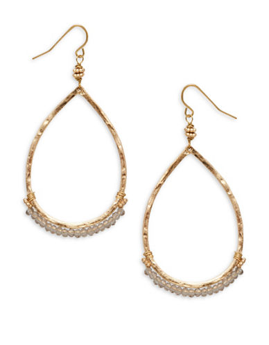 Canvas Casual Glam Goldtone Teardrop Earrings-GOLD-One Size