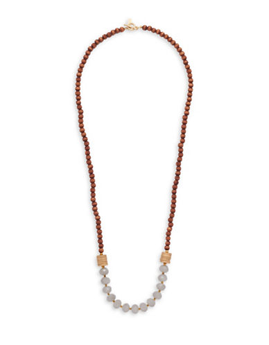 Canvas Natural Elements Beaded Statement Necklace-GREY-One Size