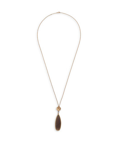 Canvas Teardrop Gemstone Necklace-GREY-One Size