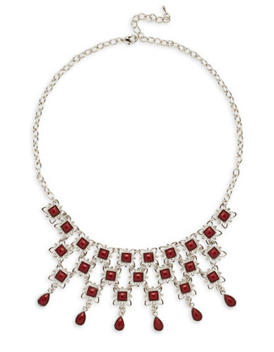 Garbo Faceted Floral Necklace-RED-One Size