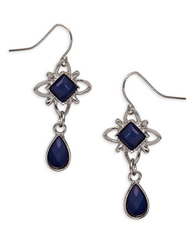 Garbo Studded Floral Drop Earrings-BLUE-One Size