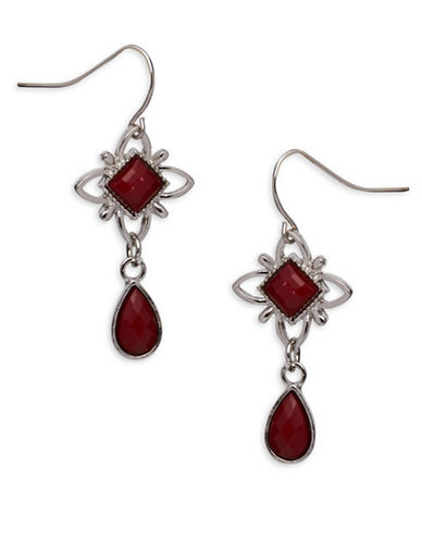 Garbo Flower Teardrop Earrings-RED-One Size