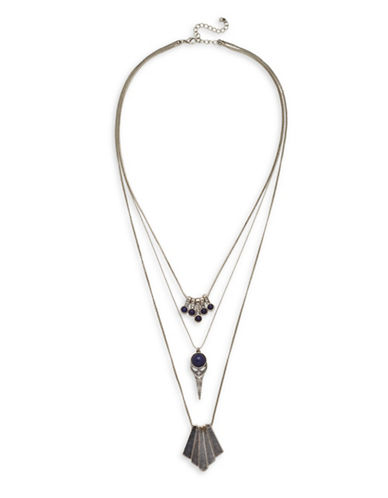 Garbo Studded Multi-Strand Necklace-SILVER-One Size