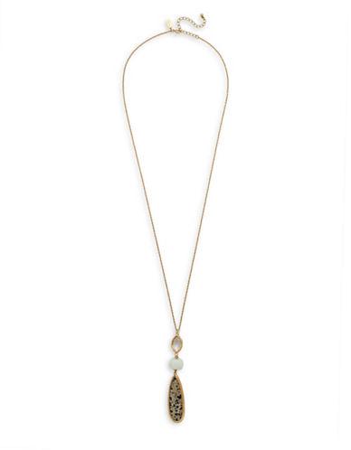 Canvas Dalmatian Jasper Teardrop Goldtone Pendant Necklace-BROWN-One Size