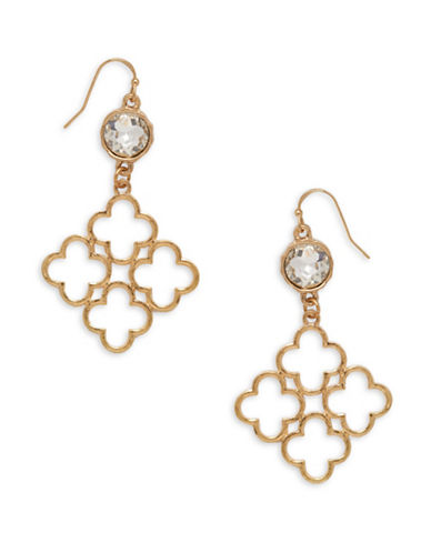 Canvas Moroccan Vibe Goldtone Quarterfoil Cluster Drop Earrings-GOLD-One Size