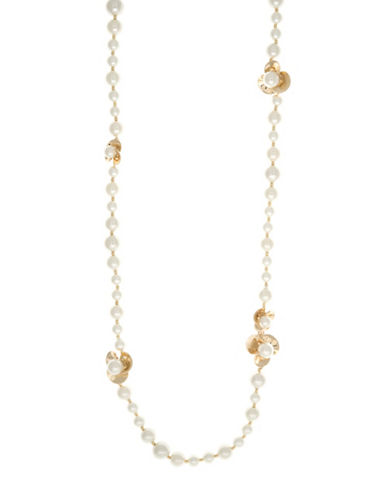 Anne Klein Pearl Flower Collection Station Necklace-PEARL-One Size